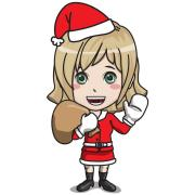 young female santa claus character