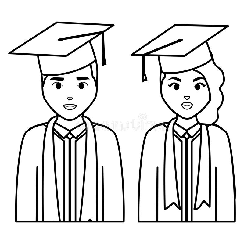 Graduate Students Silhouette Characters Stock Vector