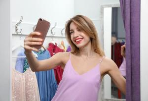 selfie dressing young taking woman