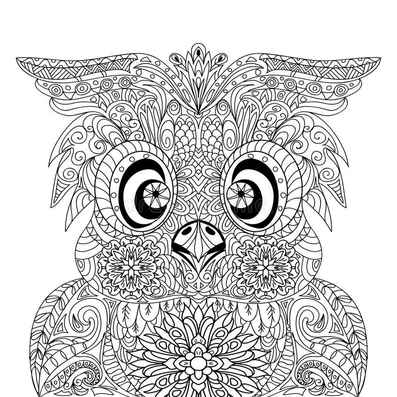 Zentangle De Mandala DOwl Portrait Illustration Stock