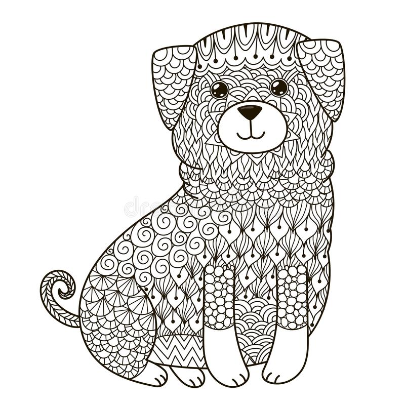 Zentangle Dog For Coloring Page, Shirt Design, Logo