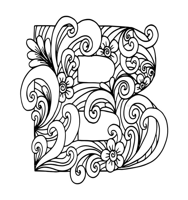 Zentangle Stylized Alphabet. Letter B In Doodle Style