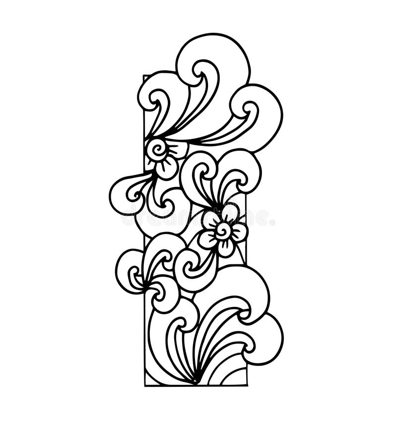 Zentangle Stylized Alphabet. Letter I In Doodle Style