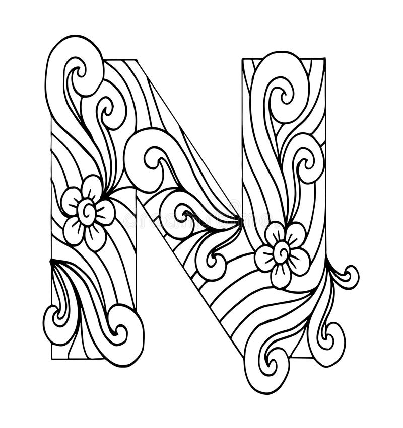 Zentangle Stylized Alphabet Letter S In Doodle Style