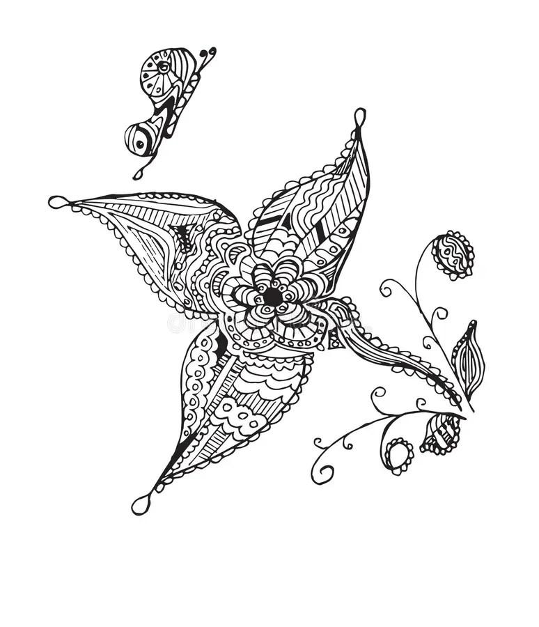 Artistically Hand Drawn Zentangle Stylized Butterfly
