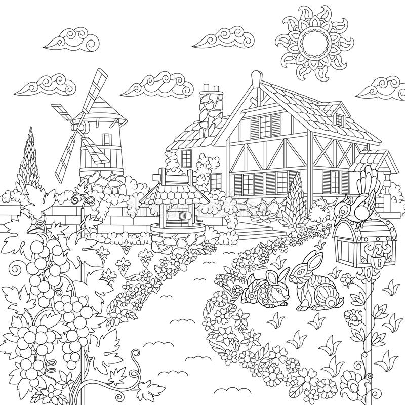 Zentangle Stylized Countryside Scene Stock Vector  Illustration of background countryside
