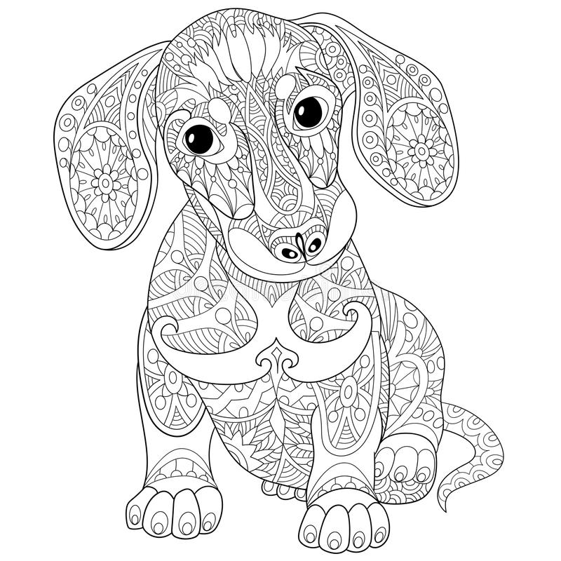 Zentangle Stylized Cartoon Dog Isolated On White