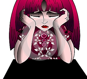 Sad Crying girl cartoon isolated