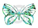 Decorated stylized butterfly with colorful floral decoration isolated