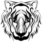 Tiger face isolated in black and white tattoo