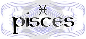 Black and white word pisces tattoo isolated