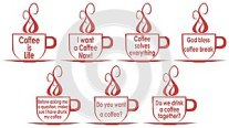 Set of coffee cups with sentences, isolated, in english