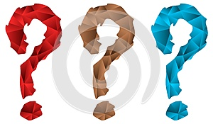 Set of question marks in mosaic isolated