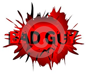Spotted abstract background with words bad guy, isolated, red tones.