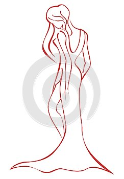 Stylized elegant woman with dress in red isolated