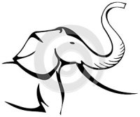 Stylized elephant profile in black and white isolated