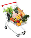Cart full of food, isolated image on white backgro