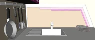 brown kitchen sink small table with bench 关闭与水槽 墙壁罐机架 板材和几何绘画的紫色和棕色厨房角落在墙壁上 板材和几何绘画的紫色和棕色厨房角落在墙壁上库存例证 插画包括有例证 角落 88166501