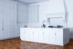 kitchen aid colors pfister faucet 在现代内部的木厨房家具从b的晚上视图库存例证 插画包括有设计 布琼布 经典白色厨房援助和白色内部与木木条地板向量例证