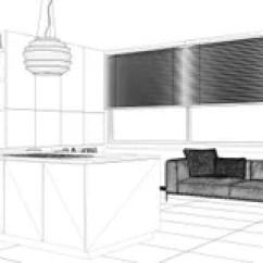 Modern Kitchen Stools Copper Backsplash Ideas 视图厨房黑白建筑学设计图图纸 Www Thetupian Com 室内设计项目 黑白墨水剪影 显示有架子和内阁的建筑学