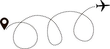 Airplane Path In Dotted Line Shape. Airplane Flying In The
