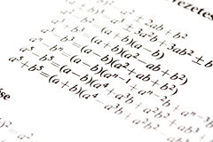 Algebra formulas close up. stock image. Image of study
