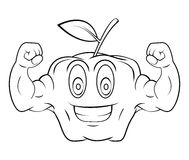 Apple Cartoon Mascot Character With Muscle Arms Stock