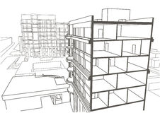 Architectural Sketch Of Building Stock Illustration