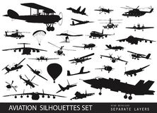 Aircraft silhouettes stock vector. Illustration of