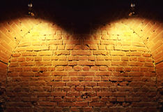 Spotlights On A Black Brick Wall Stock Images  Image
