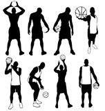 Basketball Player Poses Vector Silhouettes Stock Vector