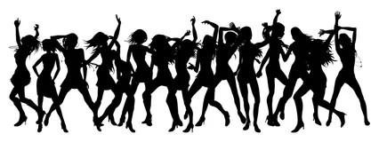3 Women Dancing Clip Art Stock Illustration Illustration