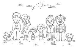 Happy Family With Children Standing Together In Line Stock