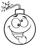 Smiling Bomb Cartoon Character Running Stock Illustration