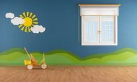 Blue kids room stock illustration Illustration of window 44457320