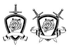 Board sword and tiger head stock vector. Illustration of