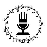 Microphone And Musical Notes Stock Illustration