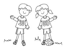 Boy And Girl Cartoon Soccer Player Stock Illustration