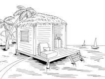 Sea Coast Graphic Art Black White Landscape Illustration