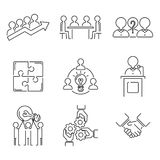 Business Teamwork Teambuilding Outline Icons Stock Vector