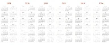 Calendario 2008-2015 Fotografia Stock Libera da Diritti
