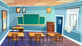 classroom empty elementary cartoon background illustration dreamstime college space furniture boy