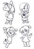 Coloring Book Sketch: Dancing Girl Stock Vector