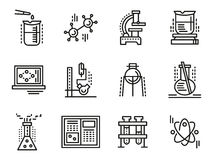 Simple Science And Research Icons Symbols Set Stock Vector