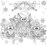 Cat Tangled In Christmas Lights Coloring Page Stock