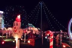 Christmas Lights Show Display On House At Night Stock