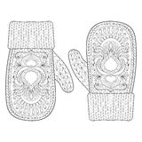Winter Warm Knitted Mittens In Zentangle Style. Stock