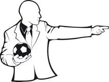 Coach With A Soccer Ball. Vector Silhouette Stock Vector