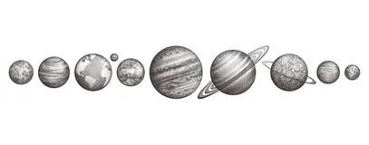 Saturno Planeta Esboço Da Tatuagem Ilustração Stock