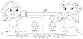 Kids Recycling Stock Illustrations